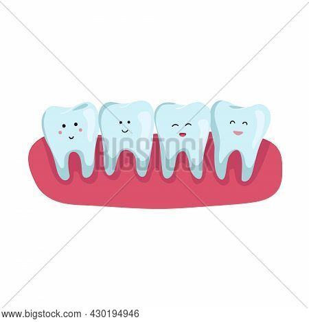 Teeth With Dental In Flat Design. Flat Vector Concept. Dental Clinic, Stomatology Orthodontic Illnes