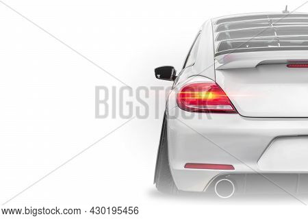 Close Up Of Taillight Detail Of White Modern Luxury Sportscar Isolated On White Background With Plac