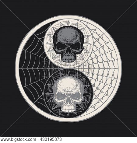 A Hand-drawn Yin Yang Symbol With Human Skulls And Cobwebs On A Black Background. Vector Occult And