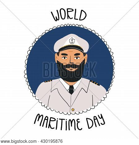 World Maritime Day Banner. Portrait Of A Bearded Captain In A Marine Uniform With Epaulets, A Cap Wi