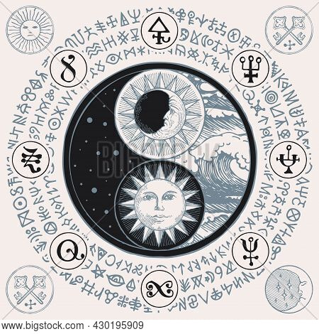 Vector Yin Yang Symbol With Sun, Moon, Stars, Sea Waves And Magic Signs, Written In A Circle. Hand-d