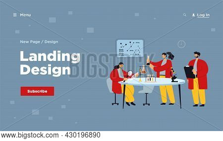 Happy Scientist Making Research In Laboratory Isolated Flat Vector Illustration. Cartoon Medical Stu