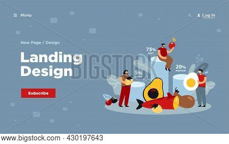 Tiny People Eating Ketogenic Food Flat Vector Illustration. Cartoon Characters Fasting With Keto Die