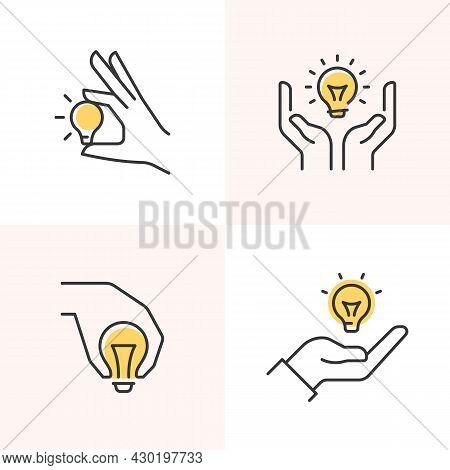 Hand Presenting A Light Bulb. Innovation, Inspiration, Creativity Line Icons Set.