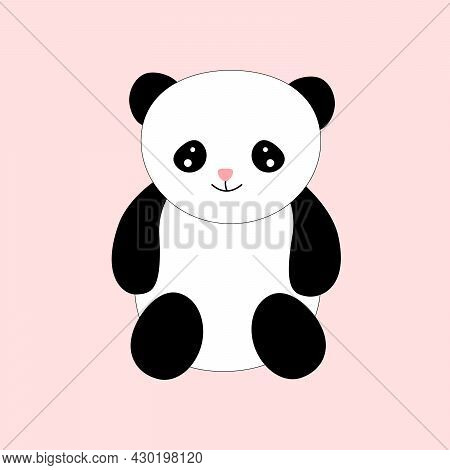 Flat Vector Of Funny Little Panda . Cartoon Character Of Cute Bamboo Bear. Graphic Design For Childr