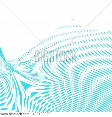Light Dynamic Mono Color Wavy Abstract Background With Deformation Texture, Lines Distortion. Fashio