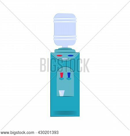 Cooler With Water Isolated On White Background. Vector Flat Illustration. Drinking Water, Healthy Li