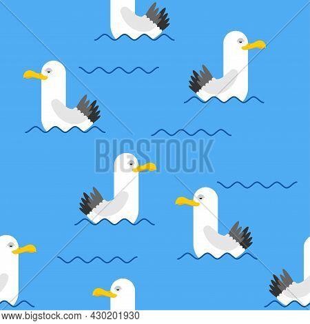 Gull Pattern Seamless. Seagull Background. Sea Bird Texture
