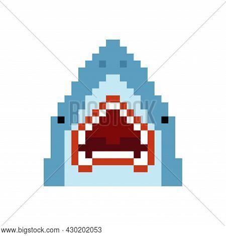 Shark Pixel Art. 8 Bit Underwater Predator Pixelated