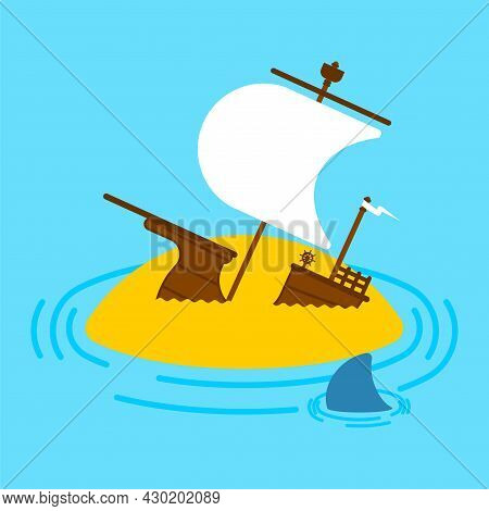 Sunken Ship On Island. Shipwreck Vector Illustration