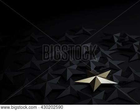 One Golden Star On Black Stars On Dark Background For Outstanding ,different Creative Thinking Idea