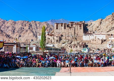 Leh, India - September 26, 2013: Unidentified Tourists And Local People At Ladakh Festival In Leh Ci
