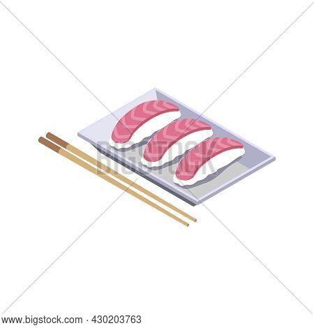 Isometric Icon With Tuna Sushi And Chopsticks 3d Vector Illustration