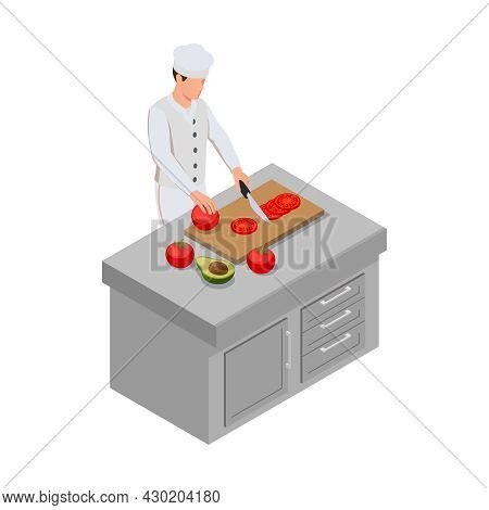 Isometric Icon With Male Chef Cutting Vegetables On Kitchen Table 3d Vector Illustration