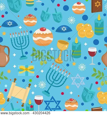 Hanukkah Seamless Pattern With Menorah, Dreidel, Coins, Snowflakes, Donuts, Bows And Jewish Star.