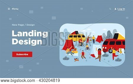 Summer Festival And Tourist Group Camping Outdoor. Flat Vector Illustration. People Enjoying Nature