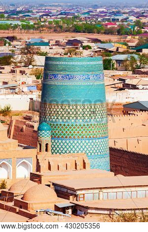 Kalta Minor Minaret Aerial Panoramic View At The Itchan Kala, The Walled Inner Town Of The City Of K