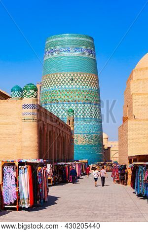 Kalta Minor Minaret At The Itchan Kala, The Walled Inner Town Of The City Of Khiva In Uzbekistan