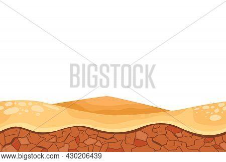 Cartoon Desert Relief Landscape For Game User Interface Vector Illustration