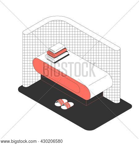 Sauna Bath Spa Isometric Composition With Image Of Sauna Bed And Slippers Vector Illustration