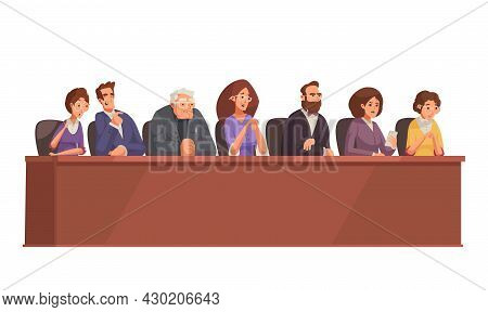Law Justice Composition With Doodle Characters Of Jury Court Members Vector Illustration