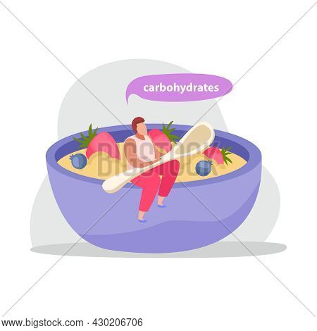 Healthy And Super Food Flat Icons Composition With Man Holding Spoon Sitting On Edge Of Dish With Po