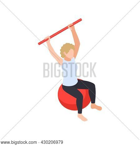 Physiotherapy Rehabilitation Isometric Composition With Female Character Doing Exercises On Rubber B