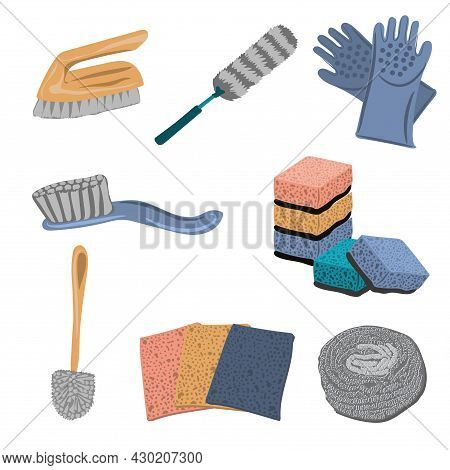 Set Of Tools For Cleaning - Brushes, Washcloths, Toilet Brush, Rubber Cleaning Gloves. Household Ite