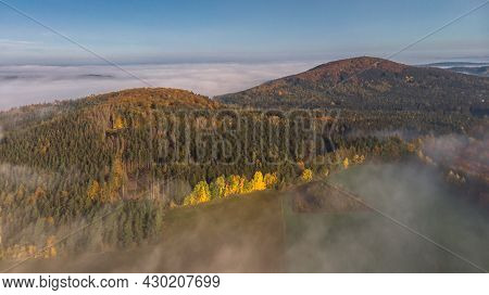 Idyllic Hilly Foggy Landscape.natural Autumn Scenic Countryside.beautiful View Of Misty Morning Scen