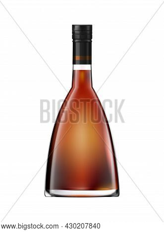 Brandy Cognac Whiskey Glass Bottles Composition Of Realistic Cone Shaped Bottle With Brown Liquid Ve