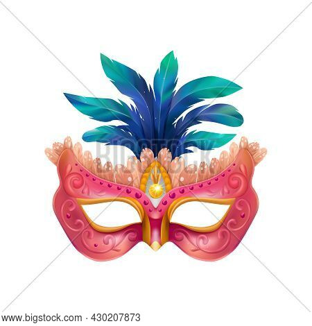 Realistic Carvinal Mask Composition With Isolated Image Of Masquerade Mask With Blue Feathers And Pu