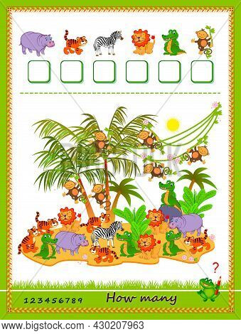 Math Education For Children. How Many Farm Animals Can You Find? Count Quantity And Write The Number