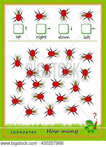 Mathematical Education For Children. Count Quantity Of Beetles Moving In Each Direction And Write Nu