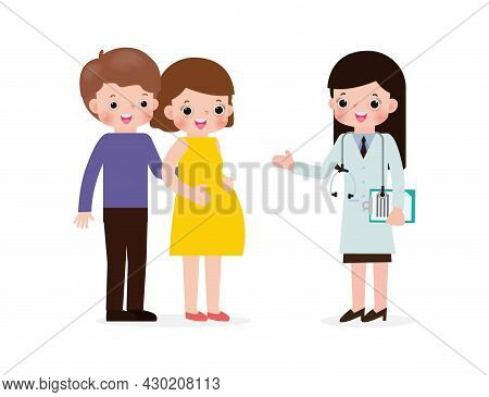 Pregnant Young Woman Visiting Doctor. Pregnancy And Prenatal Healthcare Concept. Gynecology Checkup.