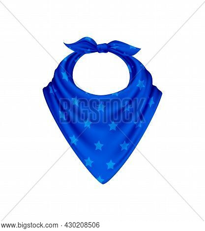 Bandana Scarf Buff Handkerchief Realistic Composition With Isolated Image With Blue Polkadot Pattern