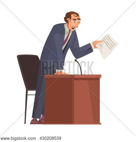 Law Justice Composition With Character Of Lawyer Holding Paper Speaking From Tribune Vector Illustra