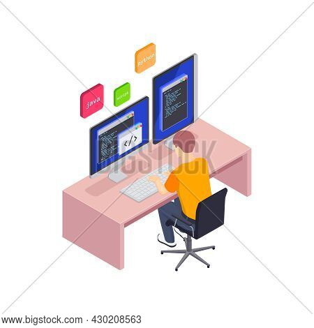 Programming Coding Development Isometric Icons Composition With Programmer At Workplace With Code On