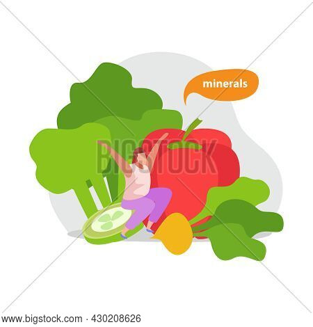 Healthy And Super Food Flat Icons Composition With Human Character And Images Of Vegetables Vector I