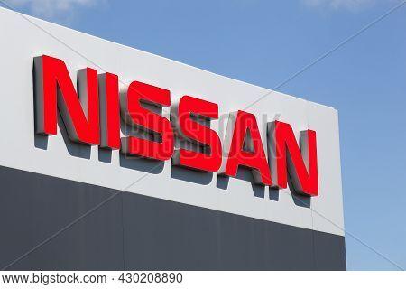 Villefranche, France - July 10, 2021: Nissan Sign On A Facade. Nissan Motor Company Ltd, Usually Sho