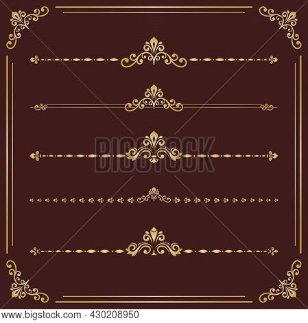 Vintage Set Of Vector Golden Patterns. Horizontal Separators In The Frame. Collection Of Golden Diff