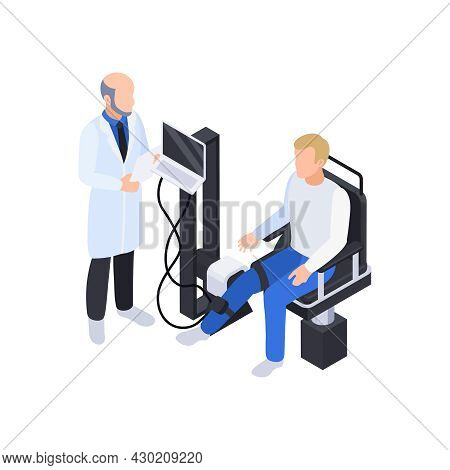Physiotherapy Rehabilitation Isometric Composition With Doctor Examining Patients Leg On Electronic