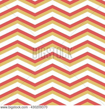 Geometric Abstract Vector Pattern With Red And Golden Zigzags. Geometric Modern Ornament. Seamless M