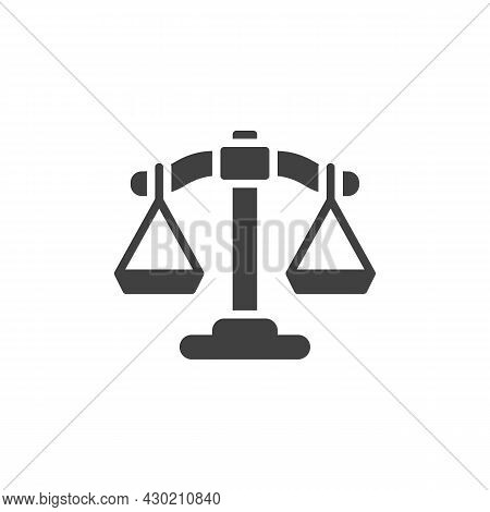 Justice Scales Vector Icon. Filled Flat Sign For Mobile Concept And Web Design. Balance Scales Glyph