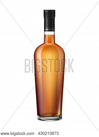 Brandy Cognac Whiskey Glass Bottles Composition Of Realistic Cylinder Shaped Bottle With Brown Liqui