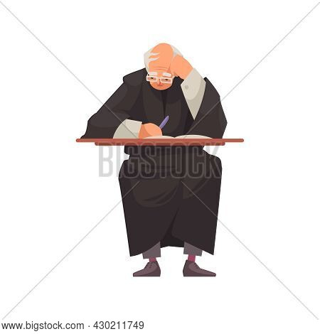 Law Justice Composition With Character Of Judge At Table With Paperwork Vector Illustration