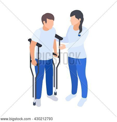 Physiotherapy Rehabilitation Isometric Composition With Female Medical Specialist Assisting Man To S