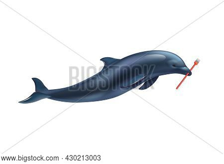 Dolphin Circus Realistic Composition With Dolphin Holding Painters Brush Vector Illustration