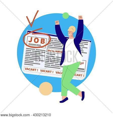 Employment Flat Composition With Happy Human Character Applied To Job Position Vector Illustration