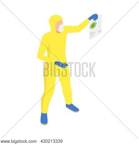 Microbiology Biotechnology Isometric Composition With Scientist In Chemical Suit Holding Virus Leafl