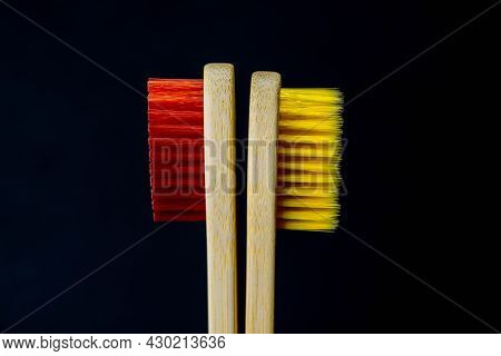 Two Toothbrush Behind Each Other. Anger Symbol. Tuned Their Back On Each Other. Stand Behind Each Ot